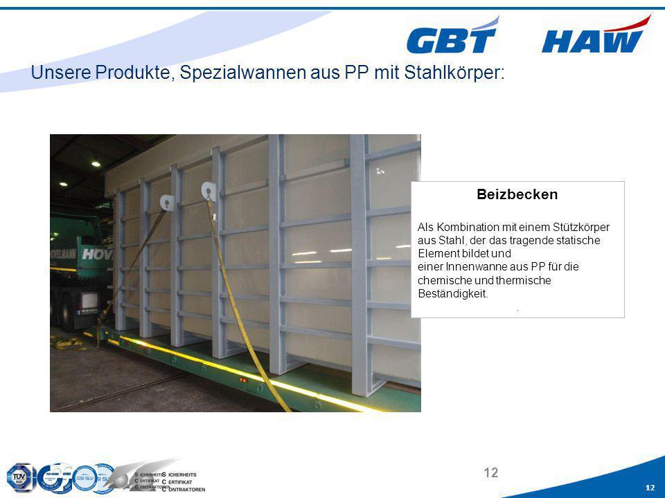 Unsere Produkte, Spezialwannen aus PP mit Stahlkörper: