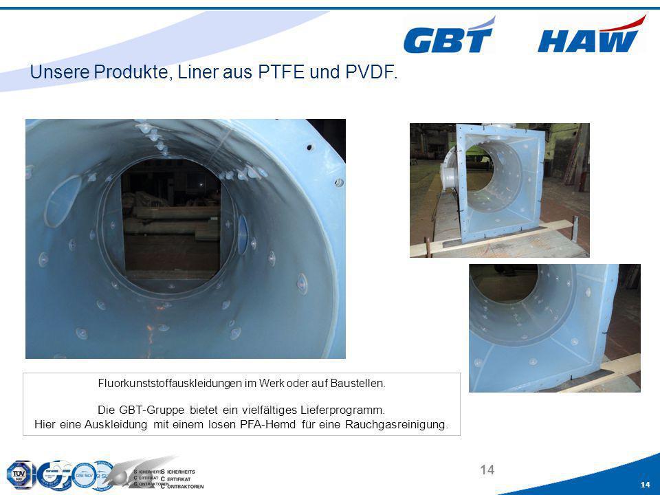 Unsere Produkte, Liner aus PTFE und PVDF.