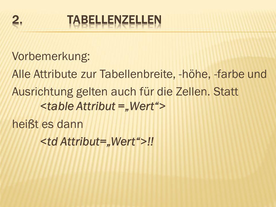 2. Tabellenzellen
