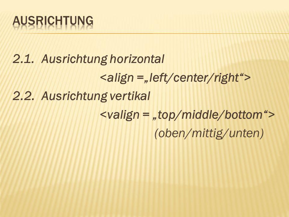 """Ausrichtung 2.1. Ausrichtung horizontal <align =""""left/center/right > 2.2."""