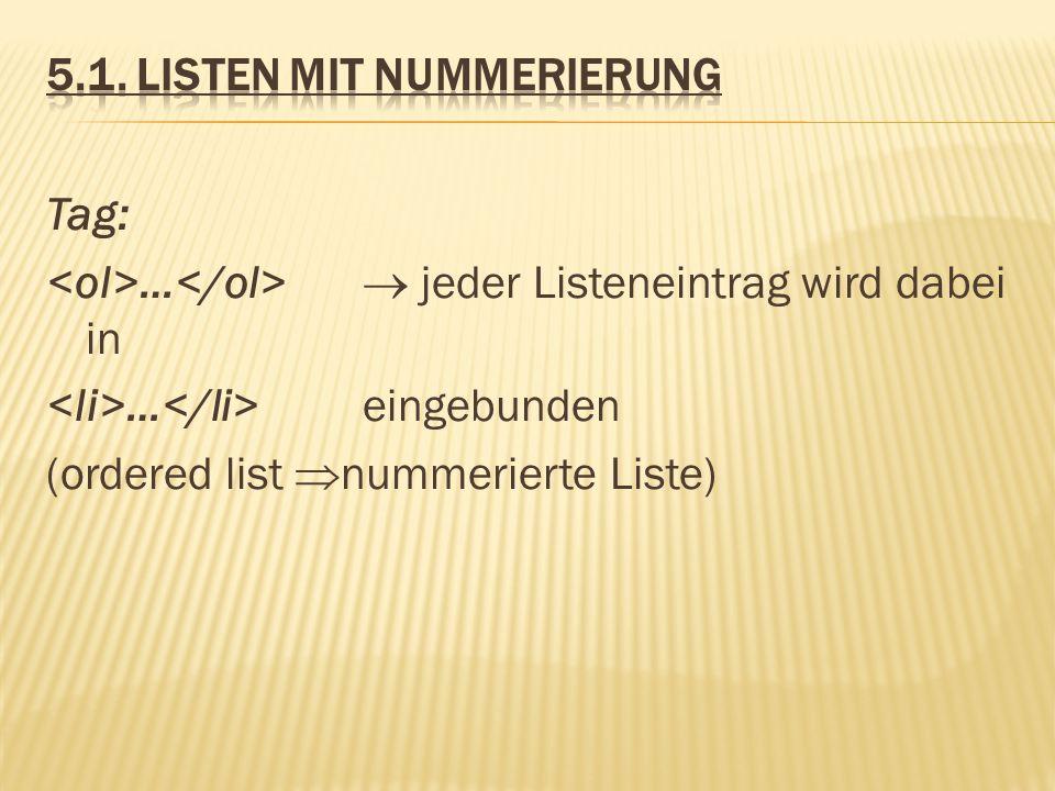 5.1. Listen mit Nummerierung