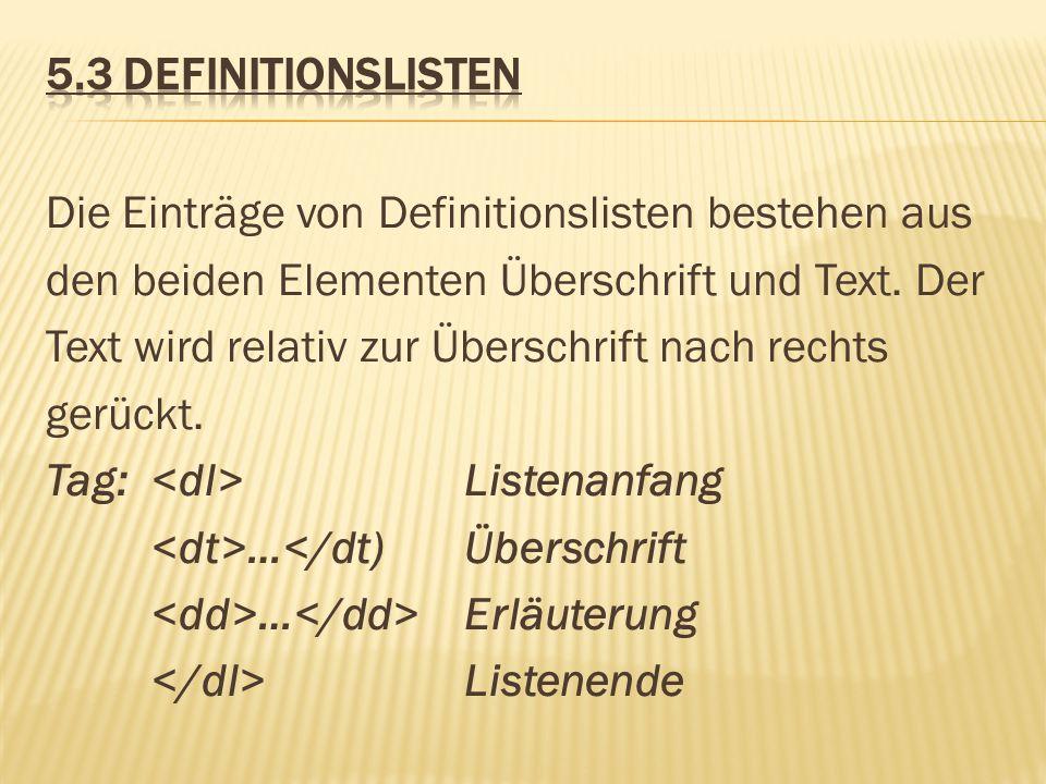 5.3 Definitionslisten