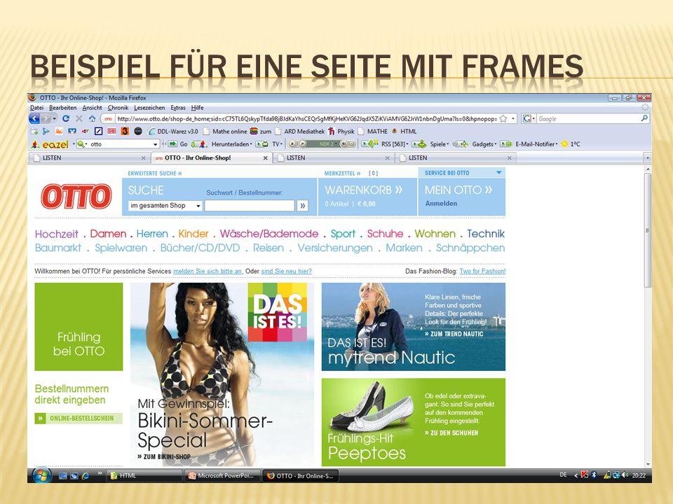 Beispiel für eine Seite mit Frames