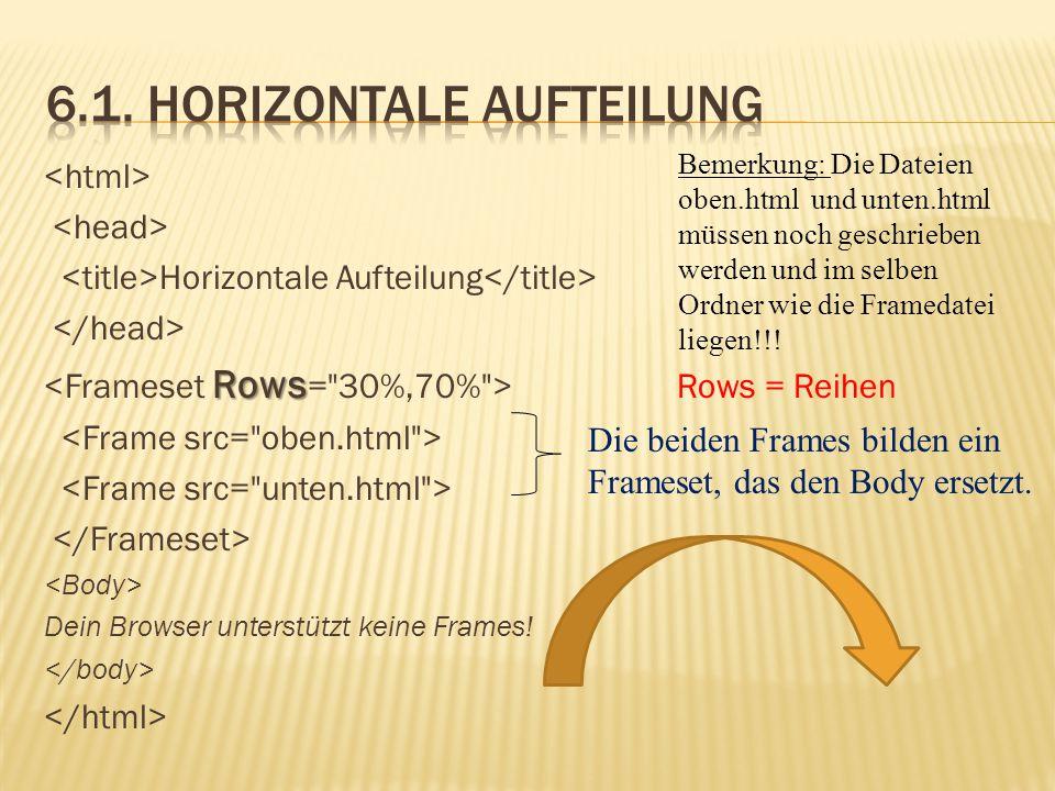 6.1. Horizontale Aufteilung