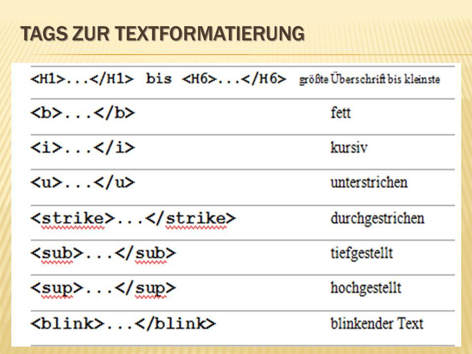 Tags zur Textformatierung