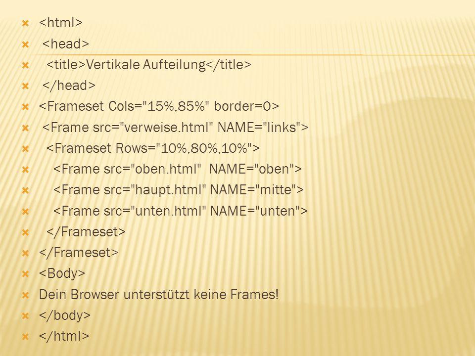 <html> <head> <title>Vertikale Aufteilung</title> </head> <Frameset Cols= 15%,85% border=0> <Frame src= verweise.html NAME= links >