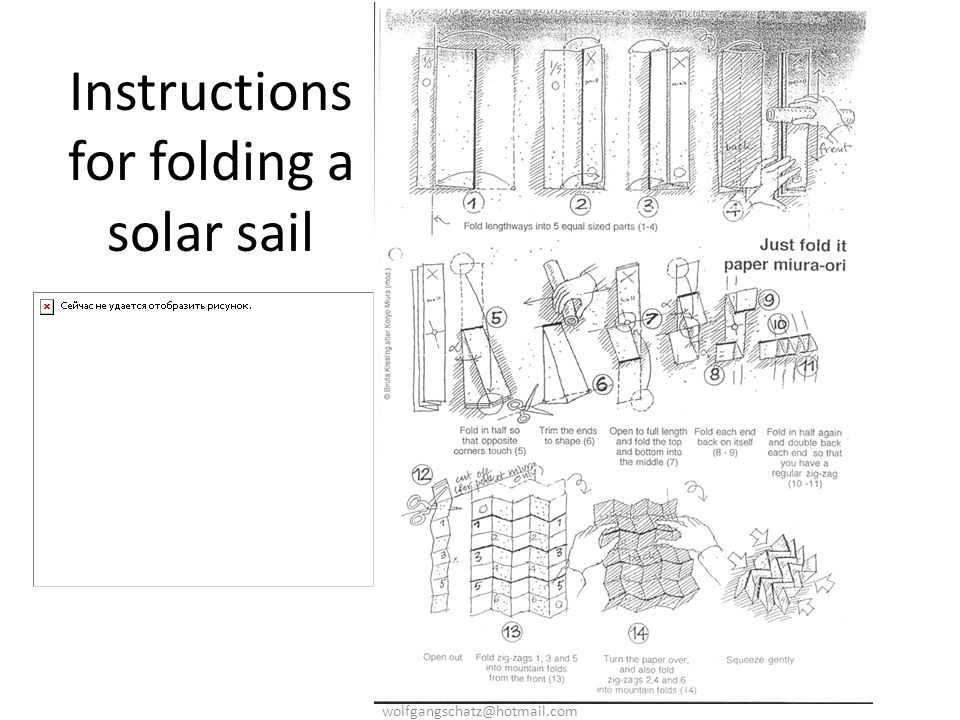 Instructions for folding a solar sail