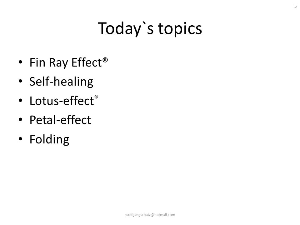 Today`s topics Fin Ray Effect® Self-healing Lotus-effect® Petal-effect