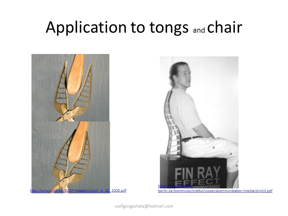 Application to tongs and chair