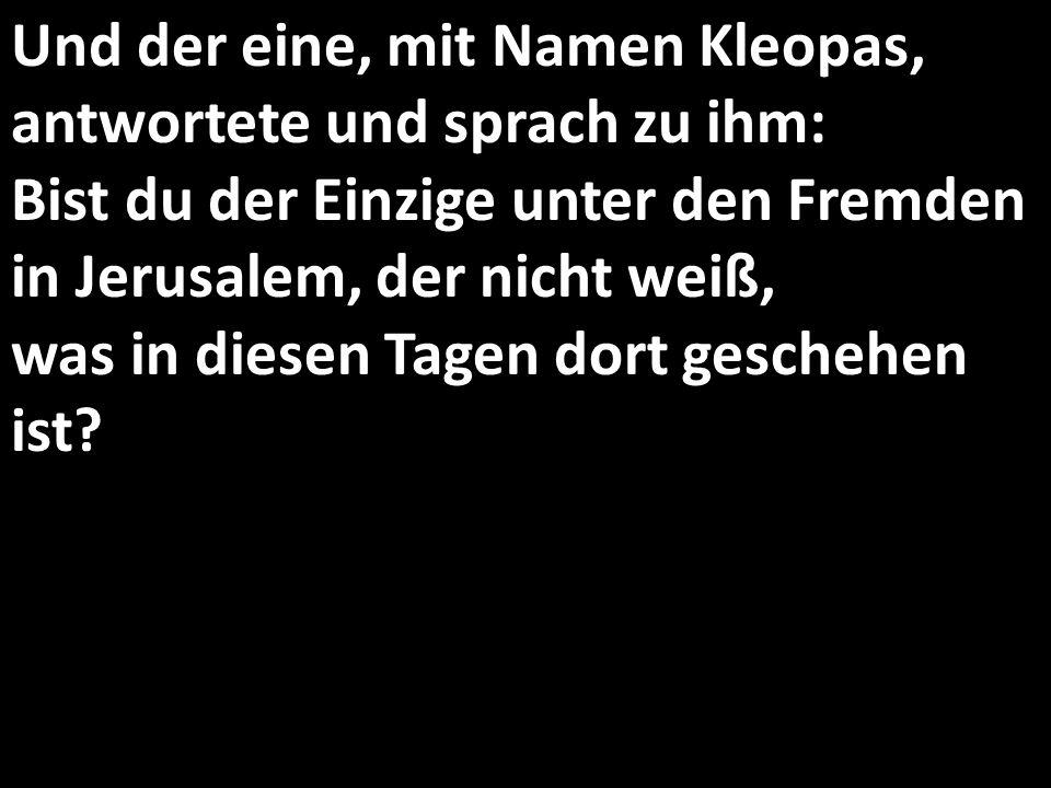 Und der eine, mit Namen Kleopas, antwortete und sprach zu ihm: Bist du der Einzige unter den Fremden in Jerusalem, der nicht weiß, was in diesen Tagen dort geschehen ist