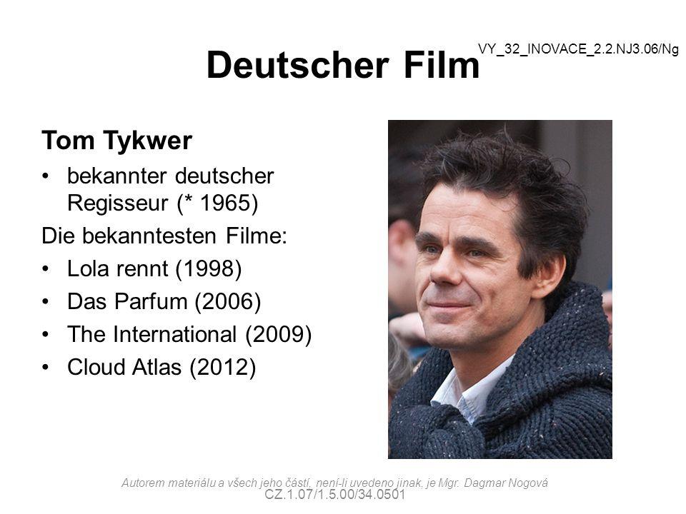 Deutscher FiIm Tom Tykwer bekannter deutscher Regisseur (* 1965)