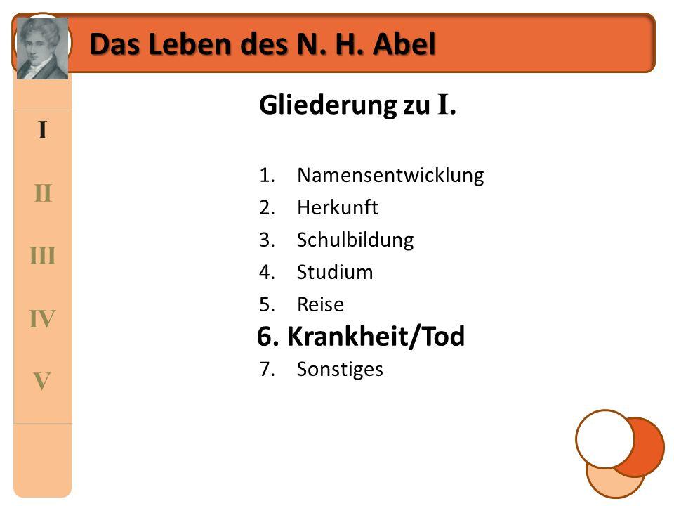 Das Leben des N. H. Abel Gliederung zu I. 6. Krankheit/Tod I II III IV