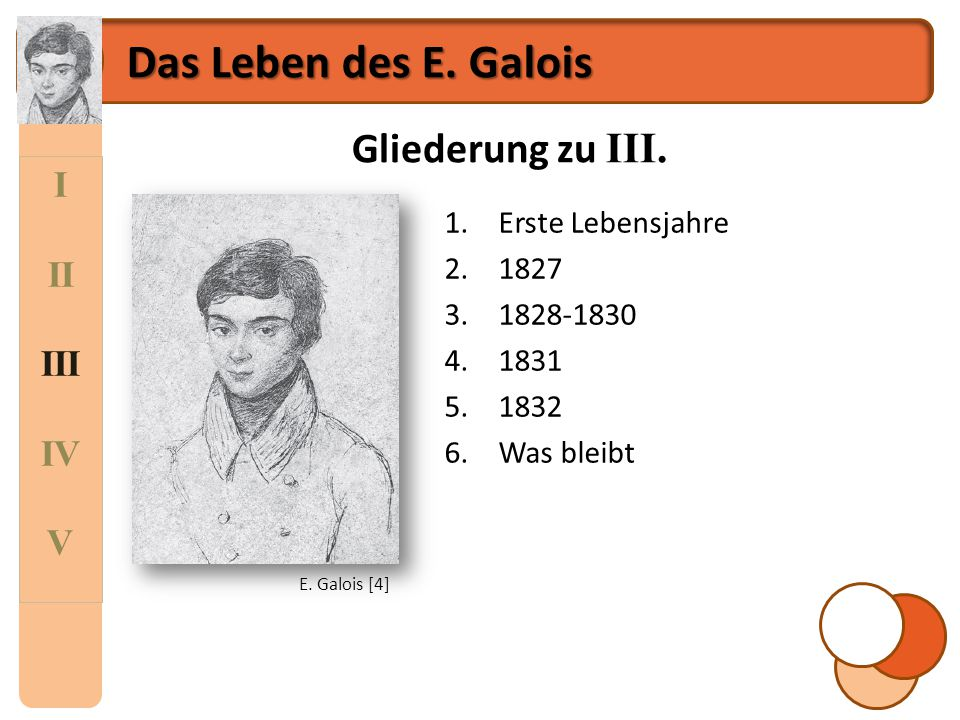 Das Leben des E. Galois Gliederung zu III. I II III IV V