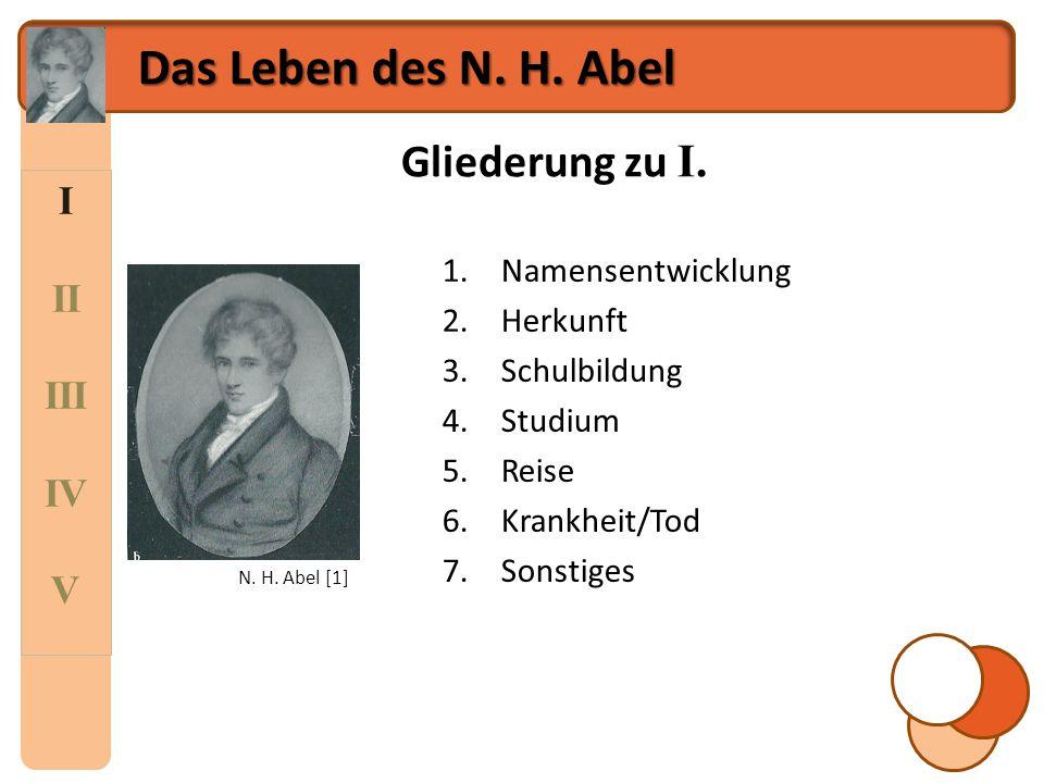 Das Leben des N. H. Abel Gliederung zu I. I II III IV V