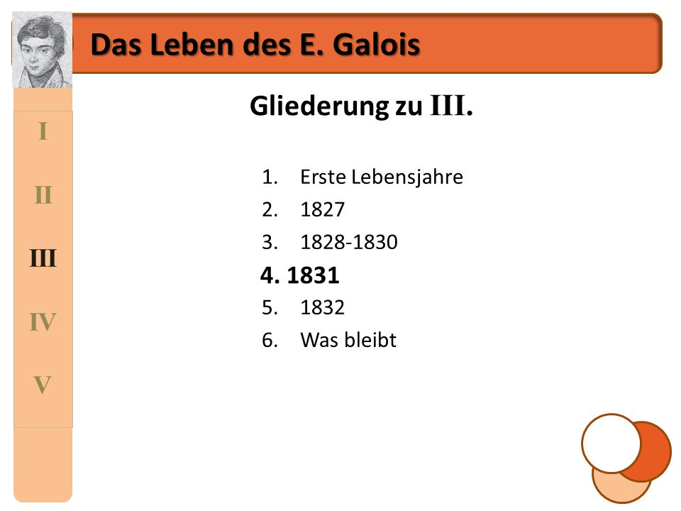 Das Leben des E. Galois Gliederung zu III. I II III IV V 4. 1831