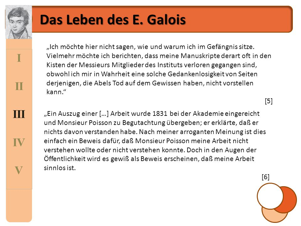 Das Leben des E. Galois I II III IV V