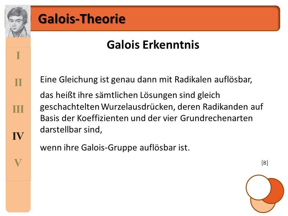 Galois-Theorie Galois Erkenntnis I II III IV V