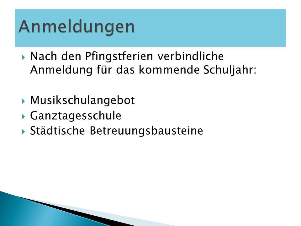 Anmeldungen Nach den Pfingstferien verbindliche Anmeldung für das kommende Schuljahr: Musikschulangebot.