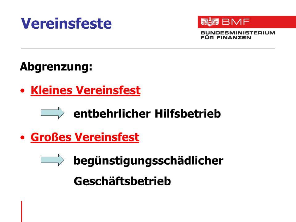 Vereinsfeste Abgrenzung: Kleines Vereinsfest