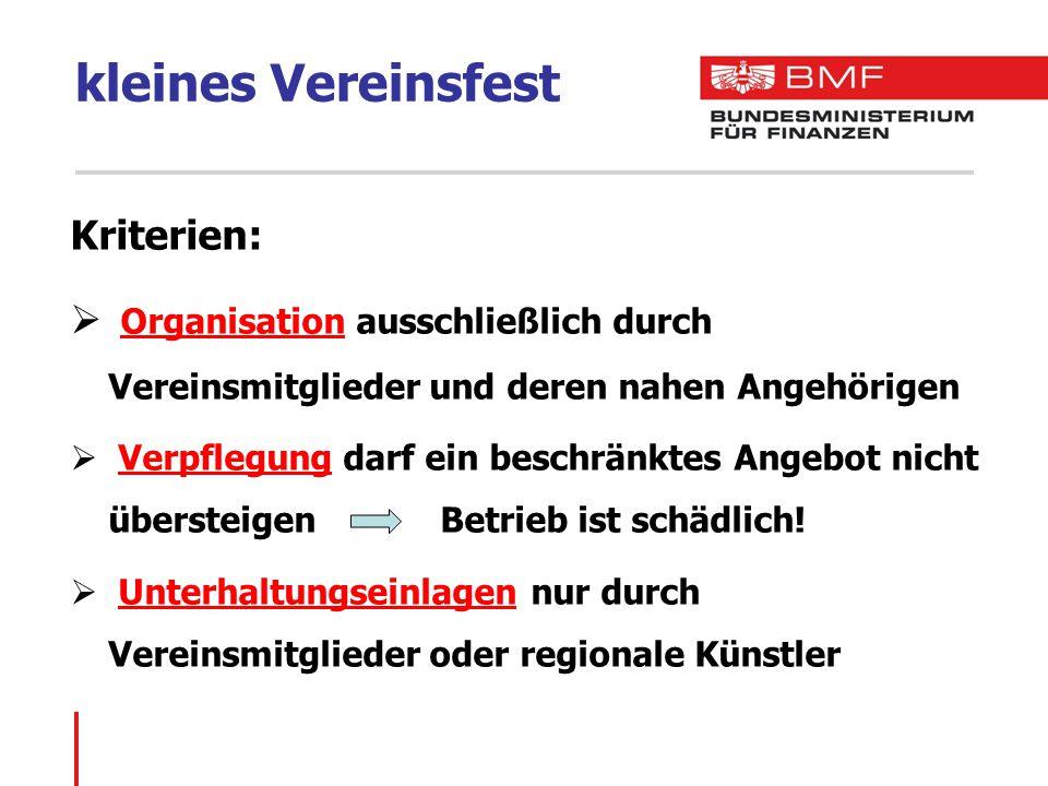 kleines Vereinsfest Kriterien: