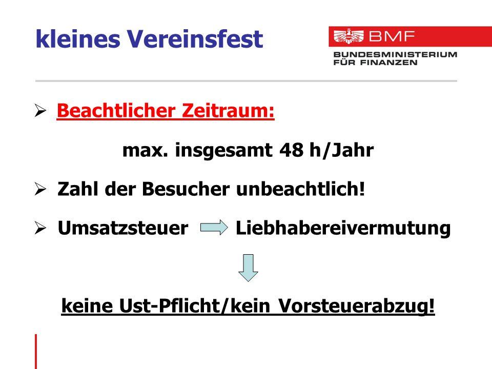 kleines Vereinsfest Beachtlicher Zeitraum: max. insgesamt 48 h/Jahr