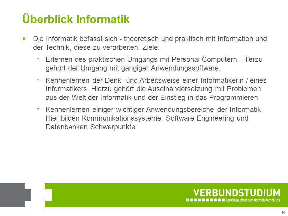 Überblick Informatik Die Informatik befasst sich - theoretisch und praktisch mit Information und der Technik, diese zu verarbeiten. Ziele: