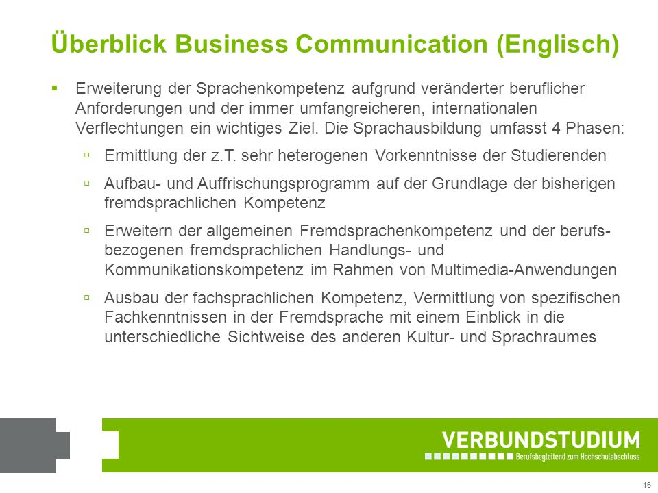 Überblick Business Communication (Englisch)