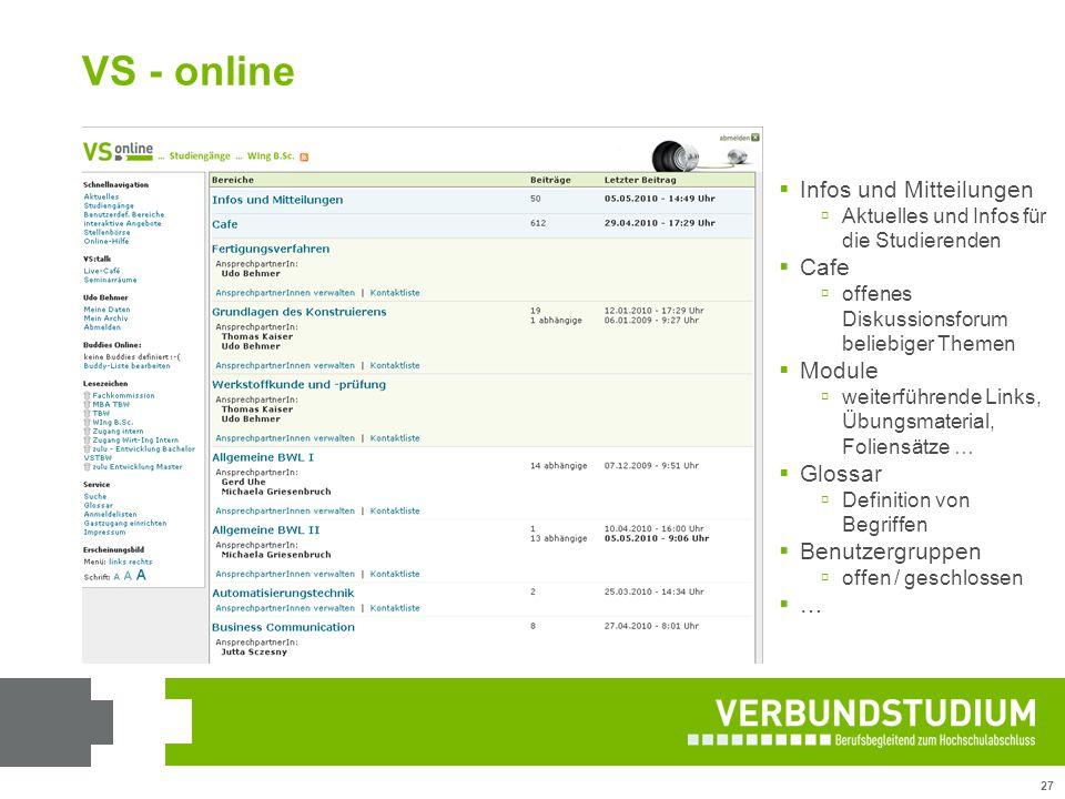VS - online Infos und Mitteilungen Cafe Module Glossar Benutzergruppen