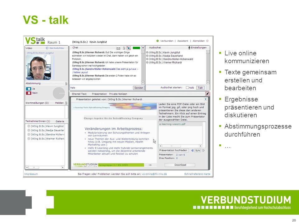 VS - talk Live online kommunizieren