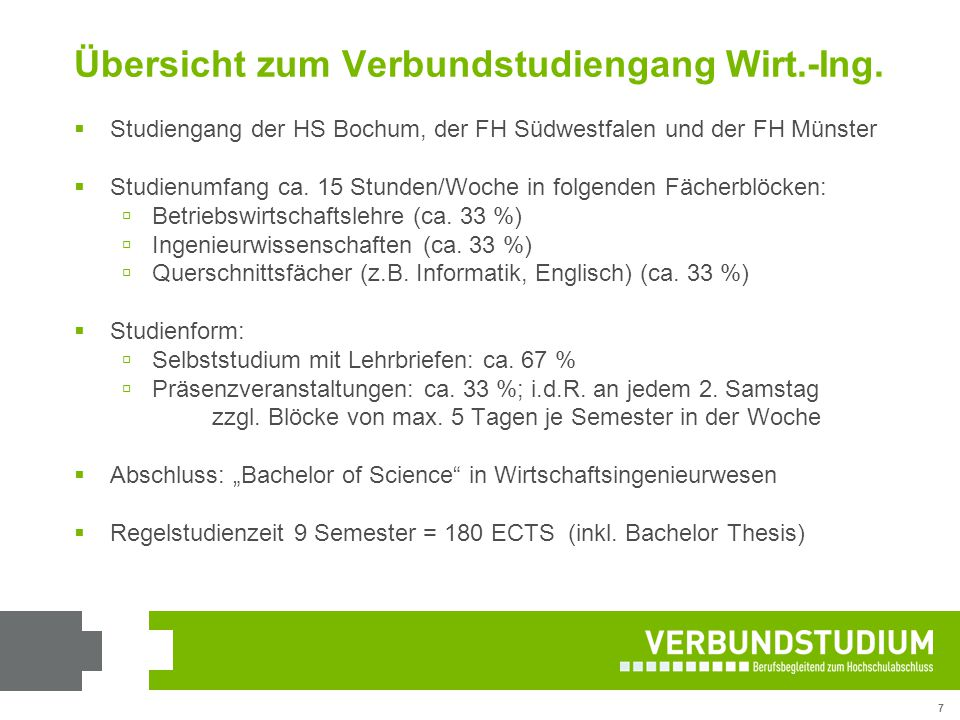 Übersicht zum Verbundstudiengang Wirt.-Ing.