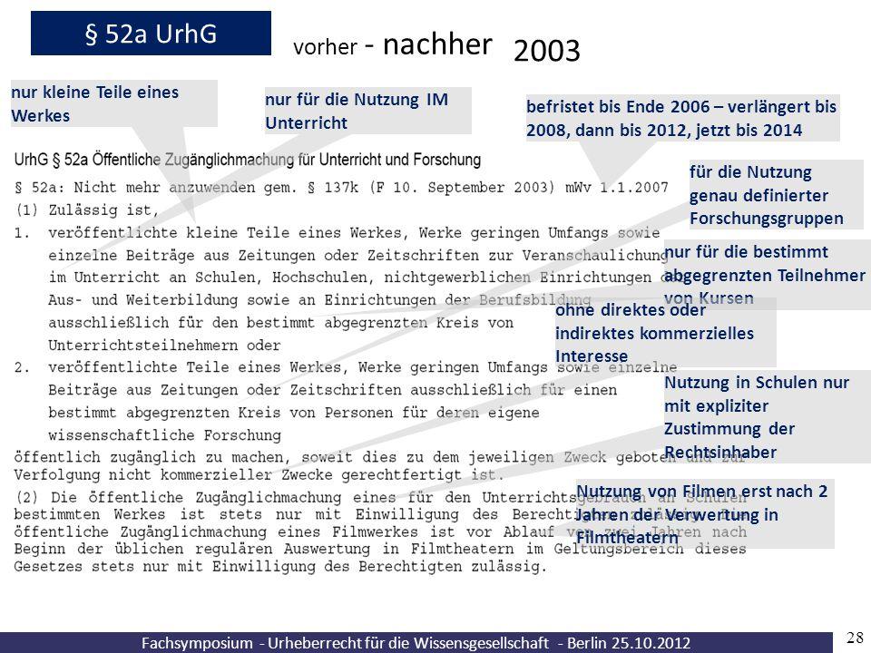 2003 § 52a UrhG vorher - nachher nur kleine Teile eines Werkes