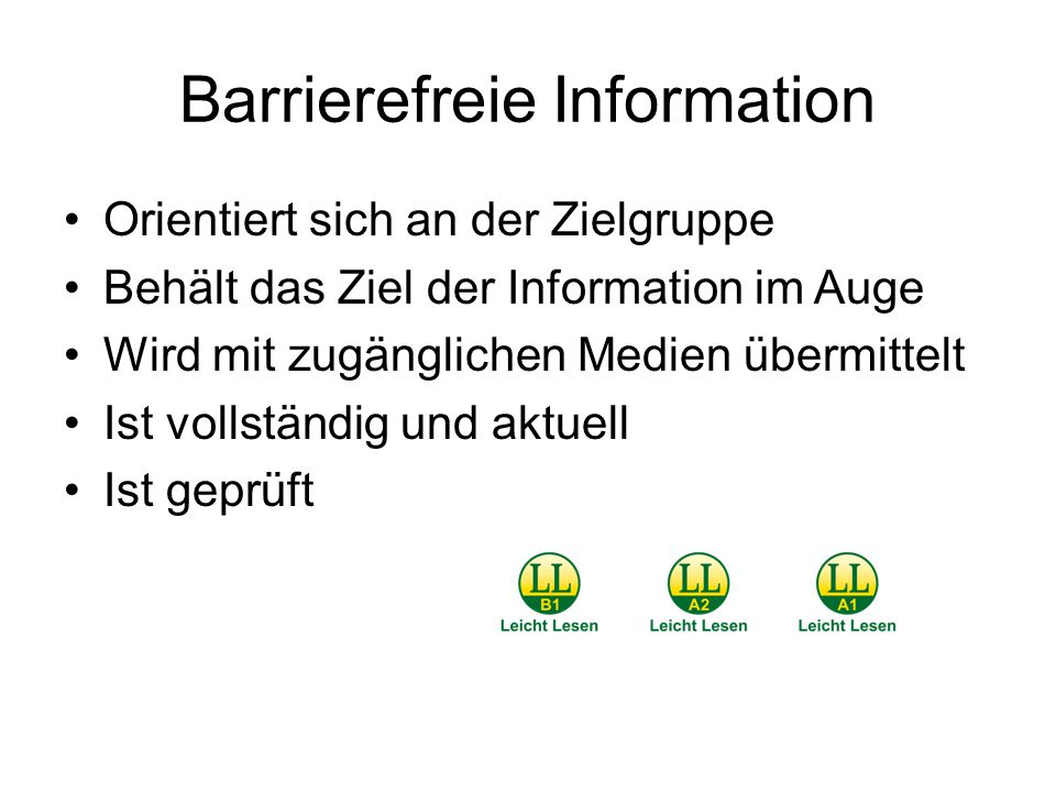 Barrierefreie Information
