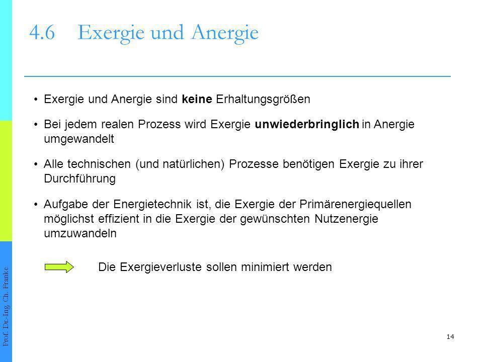 4.6 Exergie und Anergie • Exergie und Anergie sind keine Erhaltungsgrößen. • Bei jedem realen Prozess wird Exergie unwiederbringlich in Anergie.