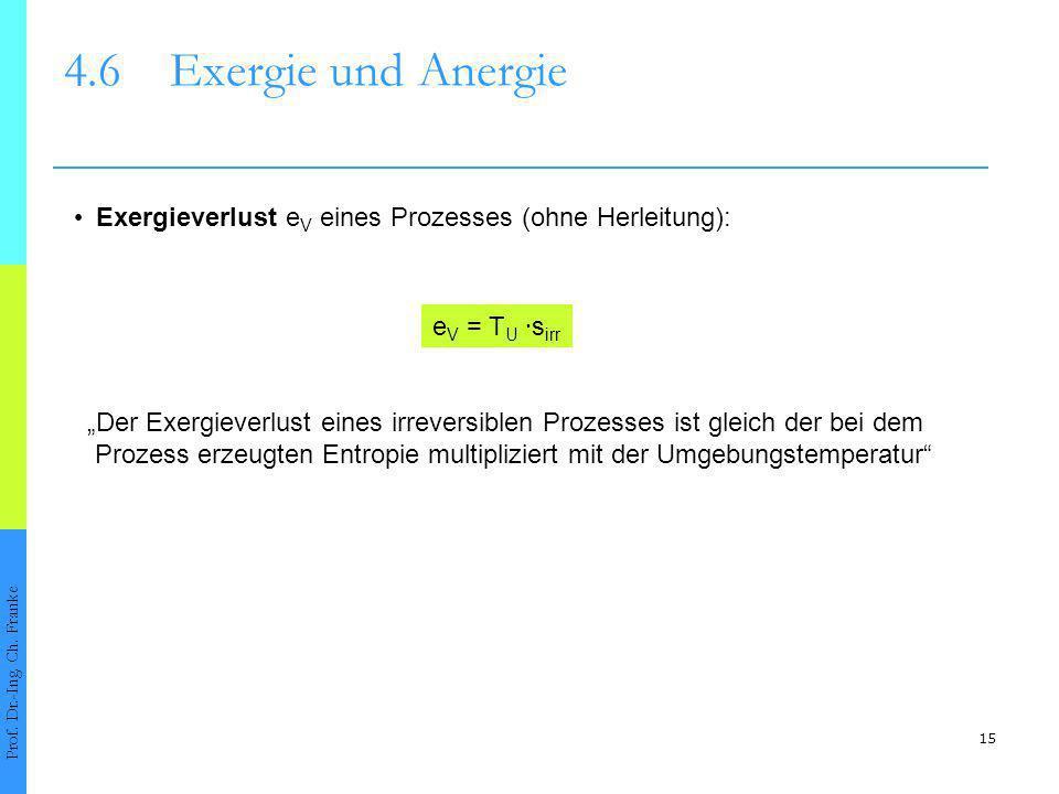 4.6 Exergie und Anergie • Exergieverlust eV eines Prozesses (ohne Herleitung): eV = TU ∙sirr.