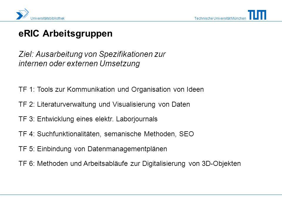 eRIC Arbeitsgruppen Ziel: Ausarbeitung von Spezifikationen zur internen oder externen Umsetzung.