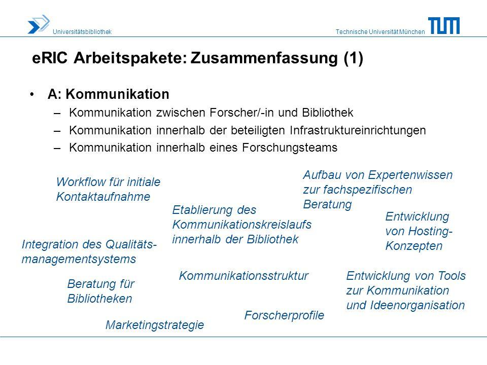 eRIC Arbeitspakete: Zusammenfassung (1)
