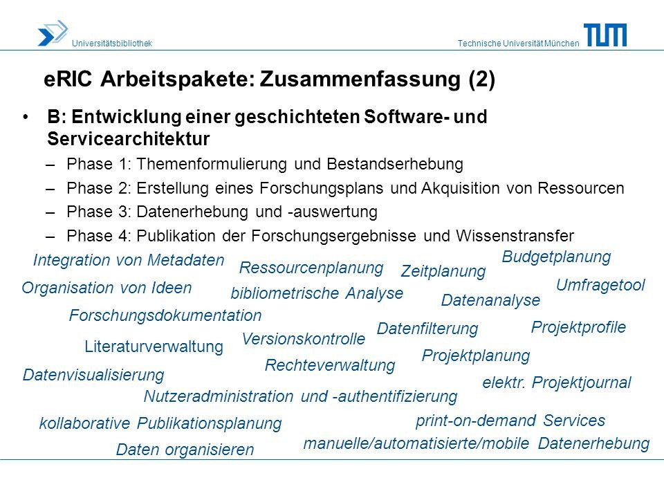 eRIC Arbeitspakete: Zusammenfassung (2)