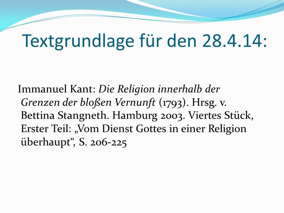 Textgrundlage für den 28.4.14:
