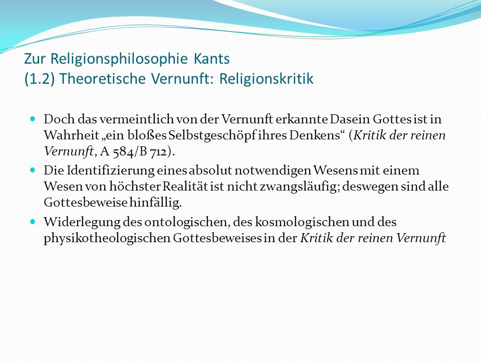 Zur Religionsphilosophie Kants (1