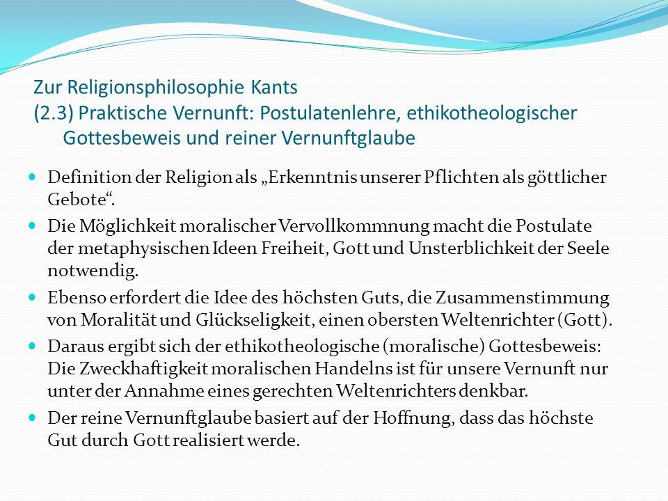 Zur Religionsphilosophie Kants (2