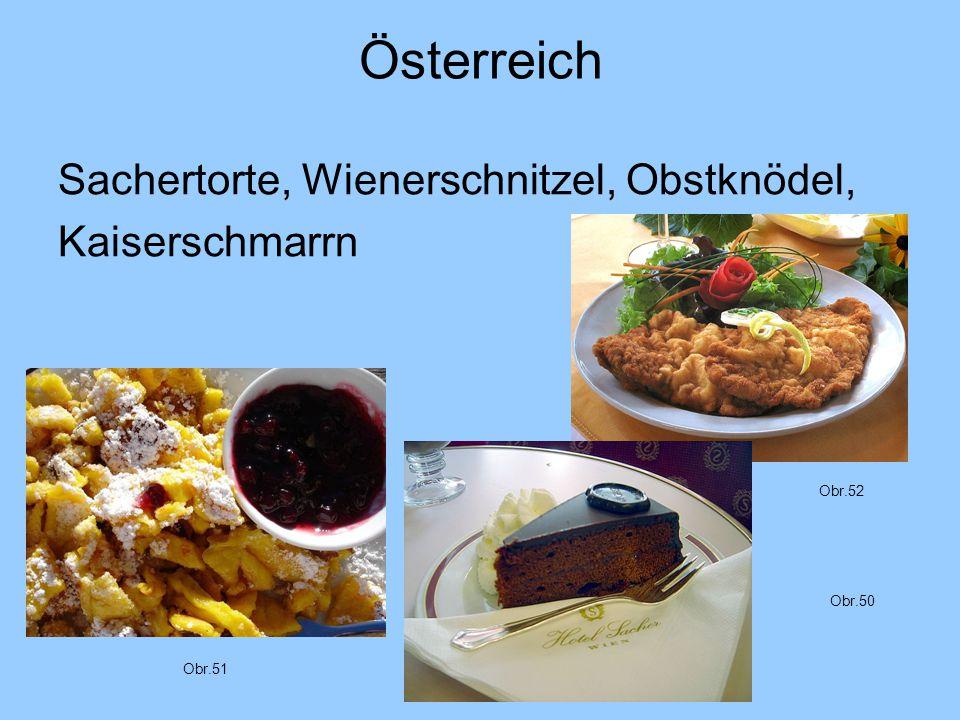 Österreich Sachertorte, Wienerschnitzel, Obstknödel, Kaiserschmarrn