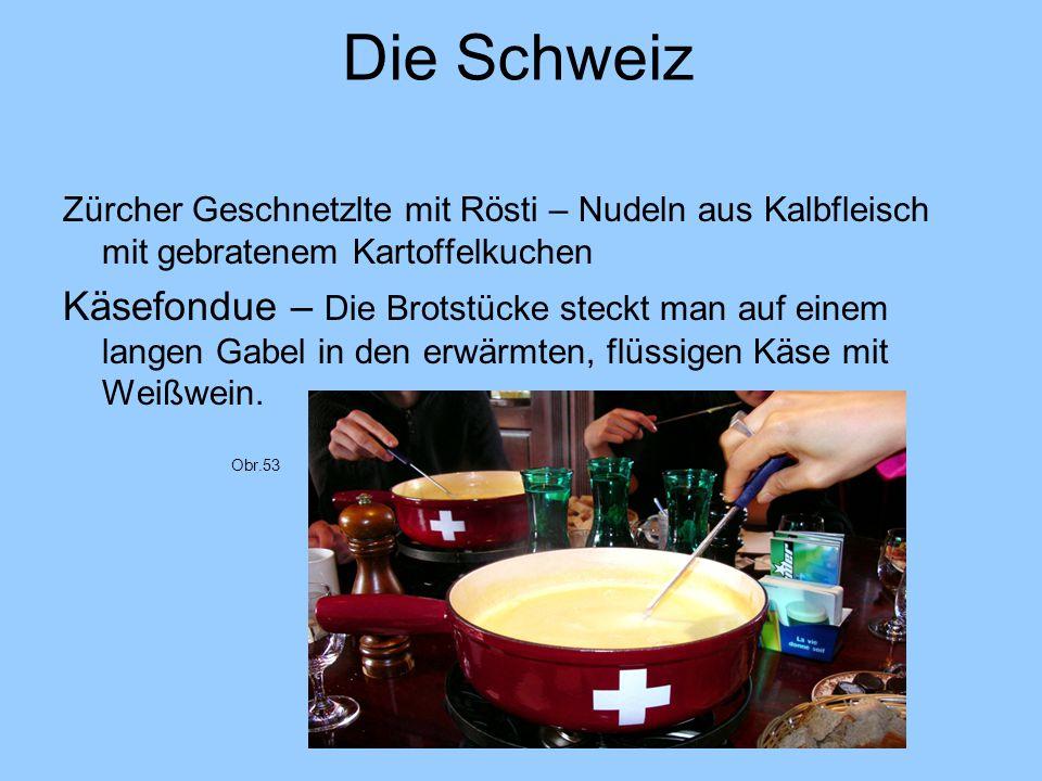 Die Schweiz Zürcher Geschnetzlte mit Rösti – Nudeln aus Kalbfleisch mit gebratenem Kartoffelkuchen.