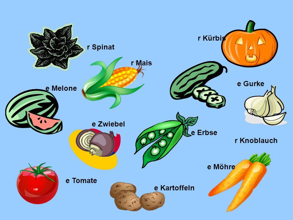 r Kürbis r Spinat. r Mais. e Gurke. e Melone. e Zwiebel. e Erbse. r Knoblauch. e Möhre. e Tomate.