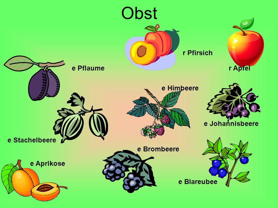 Obst r Pfirsich e Pflaume r Apfel e Himbeere e Johannisbeere