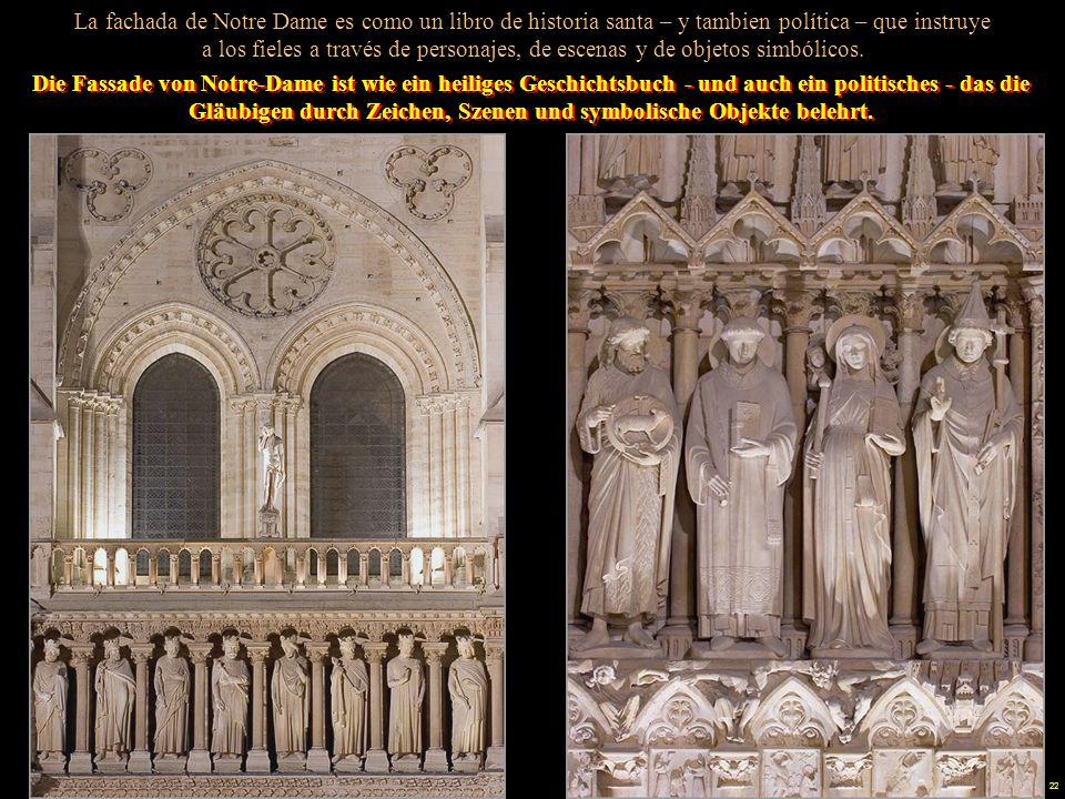 La fachada de Notre Dame es como un libro de historia santa – y tambien política – que instruye a los fieles a través de personajes, de escenas y de objetos simbólicos.