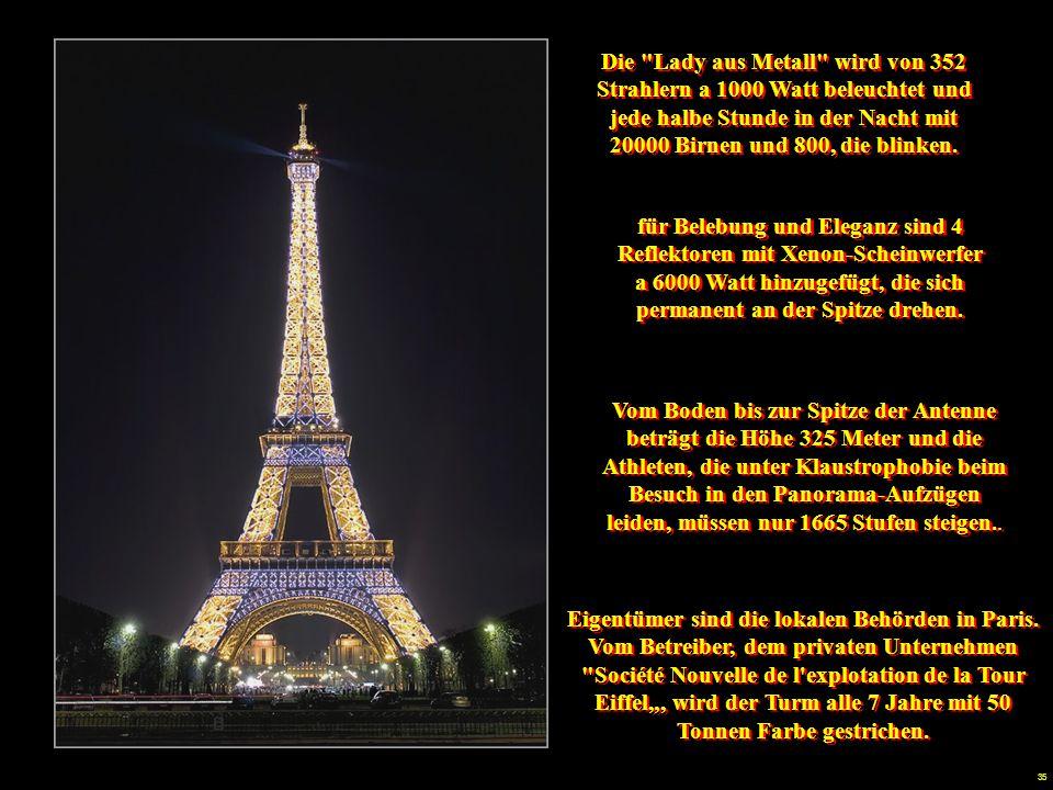 Die Lady aus Metall wird von 352 Strahlern a 1000 Watt beleuchtet und jede halbe Stunde in der Nacht mit 20000 Birnen und 800, die blinken.