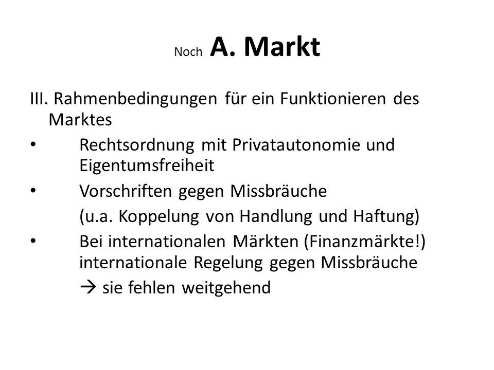 III. Rahmenbedingungen für ein Funktionieren des Marktes