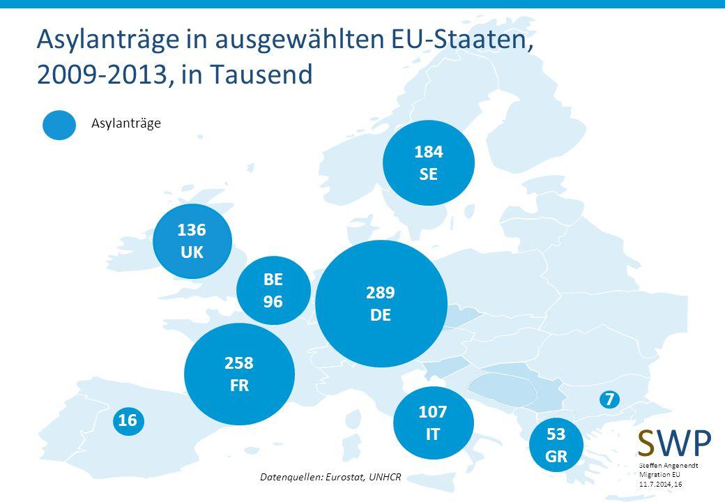Asylanträge in ausgewählten EU-Staaten, 2009-2013, in Tausend