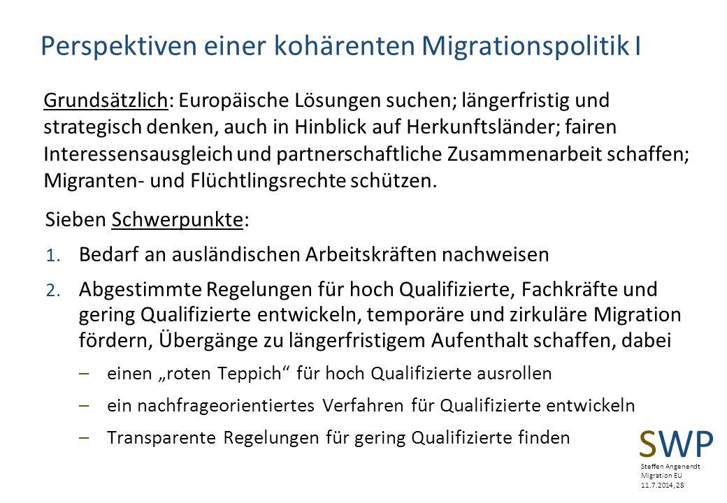 Perspektiven einer kohärenten Migrationspolitik I