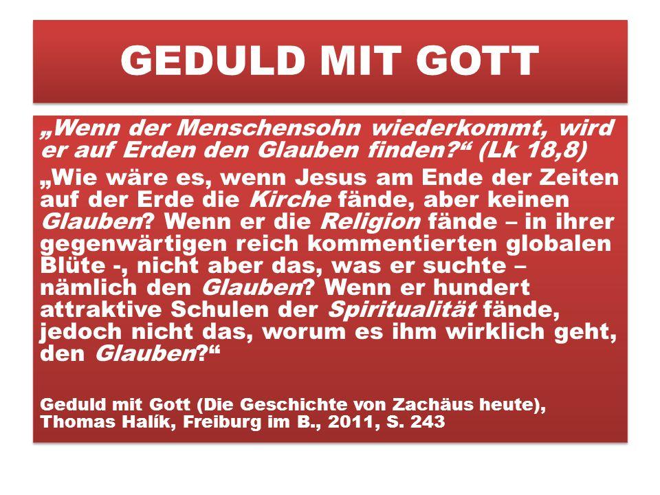"""GEDULD MIT GOTT """"Wenn der Menschensohn wiederkommt, wird er auf Erden den Glauben finden (Lk 18,8)"""